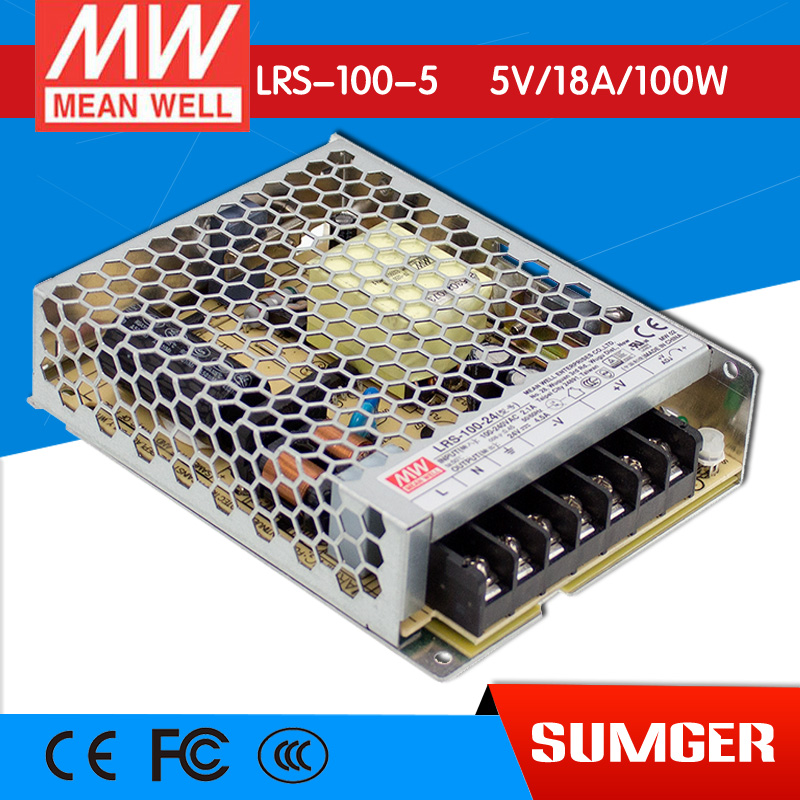 ФОТО [Freeshiping 2Pcs] MEAN WELL original LRS-100-5 5V 18A meanwell LRS-100 5V 90W Single Output Switching Power Supply