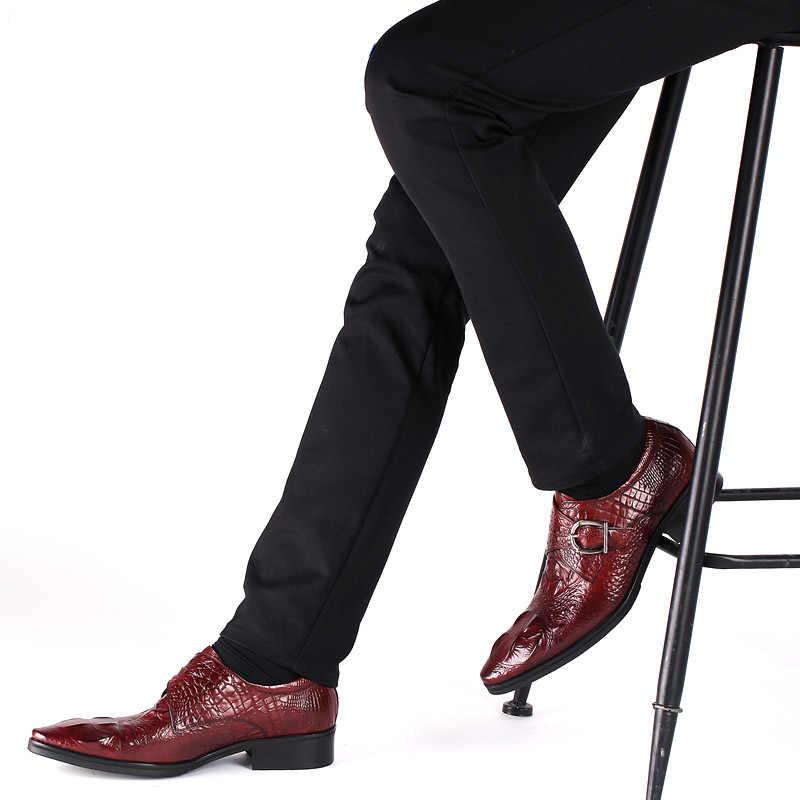 Merkmak moda erkek resmi ayakkabı yüksek kaliteli nefes PU deri kişilik erkekler İş elbise loafer'lar Oxford düğün ayakkabı