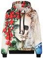 Осень Зима Galaxy Печати Панк Женщины Толстовки Тигр Печати Карман Пальто Цифровой Готический Печати С Капюшоном Пуловеры