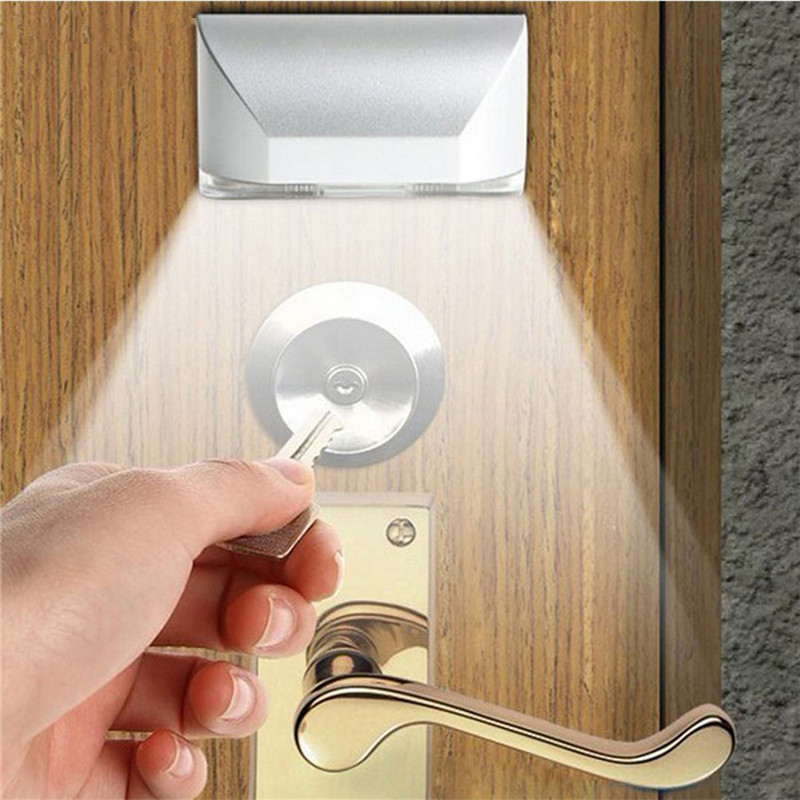 Smart PIR Infrared Detection Motion Sensor Door Keyhole Light 4 LED Safety Night Lamp Stick-on Anywhere For Stair Door Foyer