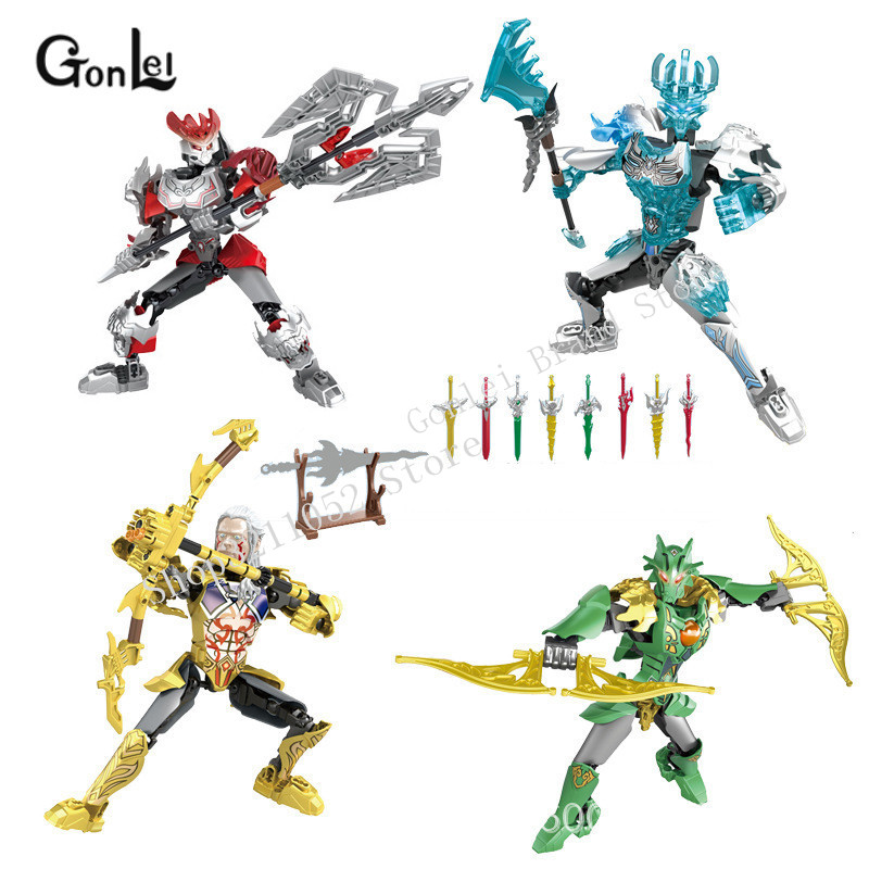 NEW Marvels Super Heroes Biochemical Warrior BionicleMask Of Light Kingship Hegemony Bionicle Bricks Building Block Toys