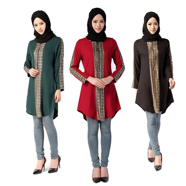Традиционные Bronzing Длинный Мусульманин Блузка Турецкий Малайзии Индонезии Плюс Размер Топы Abayas Исламская Одежда для Женщин