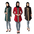 Bronzeamento Longo Blusa Muçulmano Turco tradicional Da Malásia Indonésia Plus Size Tops Abayas Vestuário Islâmico para As Mulheres
