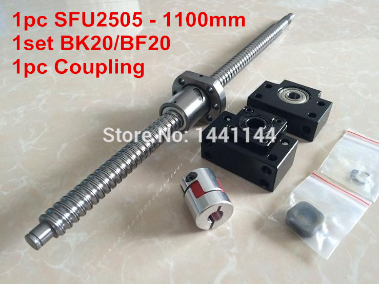 1pc SFU2505-1100mm ballscrew with ball nut + BK20/BF20 Support + 17*14mm Coupling, according to BK20/BF20 end machined CNC Parts tbi 2505 c3 1100mm length ballscrew 5mm lead with sfu2505 ball nut end machined for cnc kit