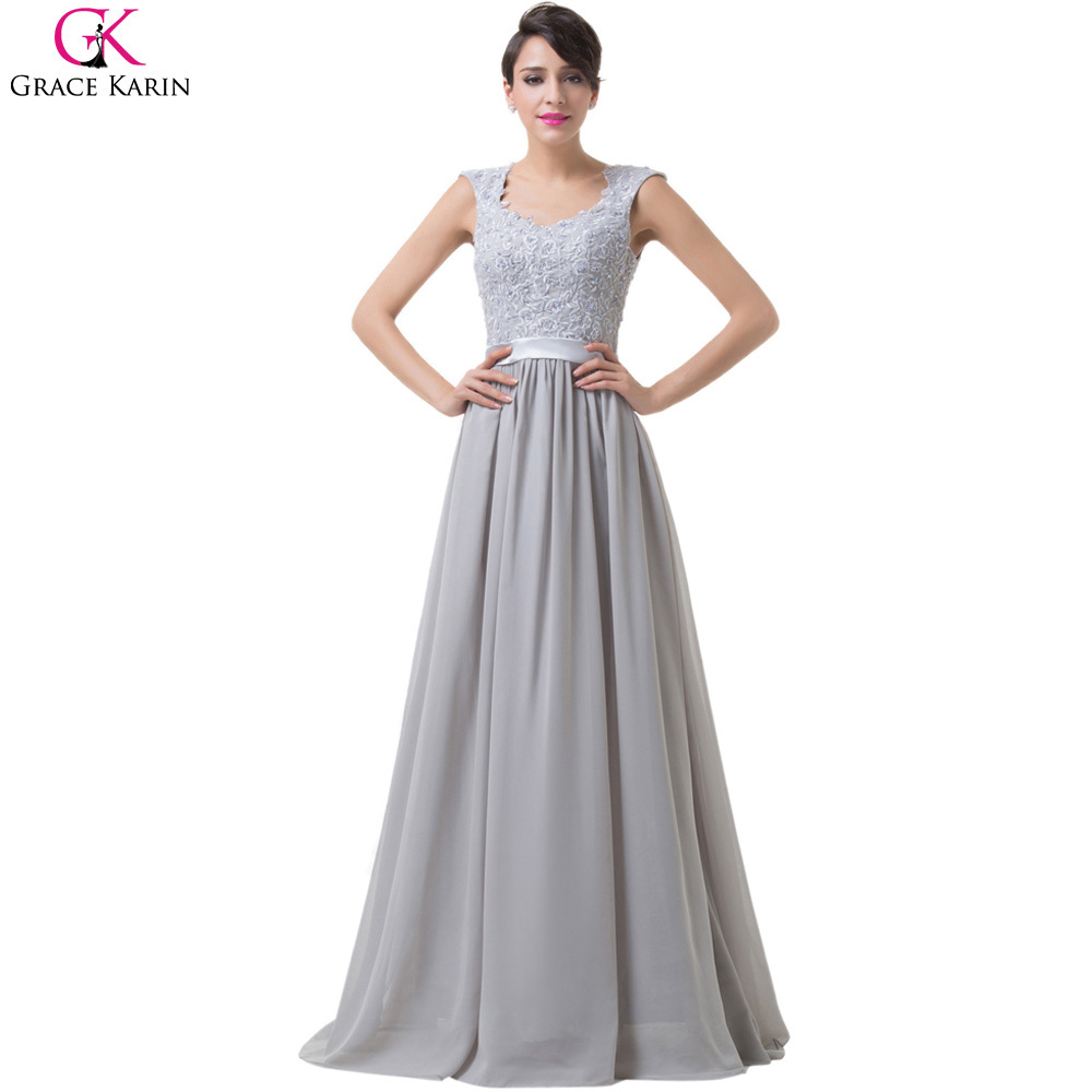 Grace karin long chiffon evening dresses 2017 gray scoop for Dresses for wedding party
