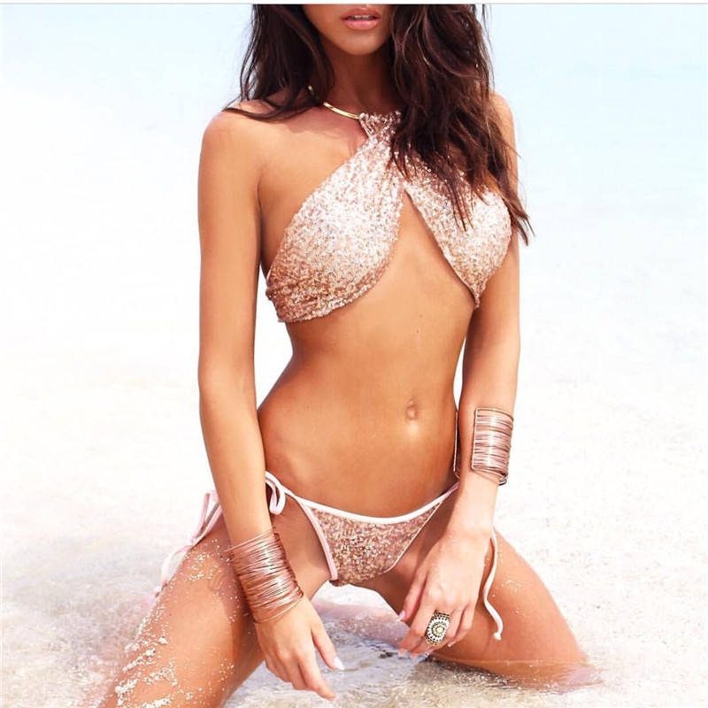 Sexy Bikini Bandage Swimwear Women Bling Sequin Bikinis Set Solid Swimsuit Bathing Biquini Maillot De  Bain Tankini BJ282 lyseacia women bikini 2017 high neck swimwear women pink bikinis set swimsuit solid color bikini sexy halter maillot de bain