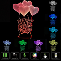 3D Illusion Lamp Night Light Happy Birthday 7 Changing Colors Touch USB Table Nice Gift Toys