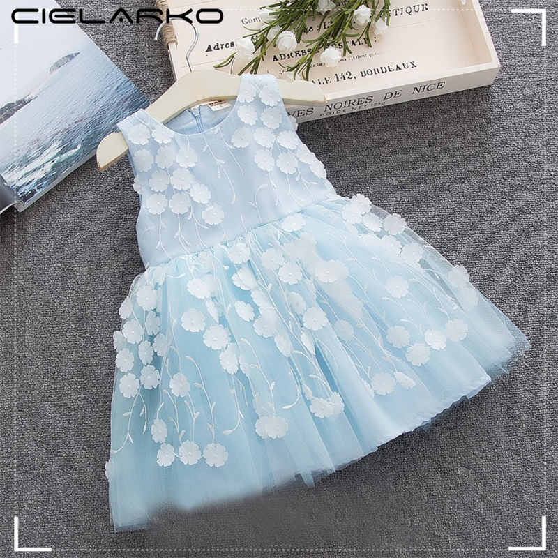 Cielarko Baby Girls Dress 2018 Summer Infant Flower Appliques Formal Infant Christening Dresses Tulle Blue Party Kids Frocks