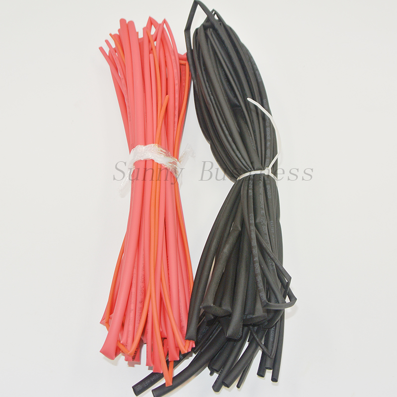 10meter/lot Heat Shrink Tubing Tube  Heatshrink Tubing Sleeving Kit Red Black Color  1.5mm 2mm 3mm 4mm 5mm