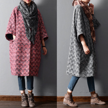 New 2015 winter and  ruffled pleated sleeve  elegant casual loose woolen plus size plus size trench outerwear wool tweed coat