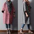 Nuevo 2015 invierno y volantes manga plisada elegante ocasional flojo de lana más tamaño más tamaño trench prendas de vestir exteriores abrigo de tweed de lana