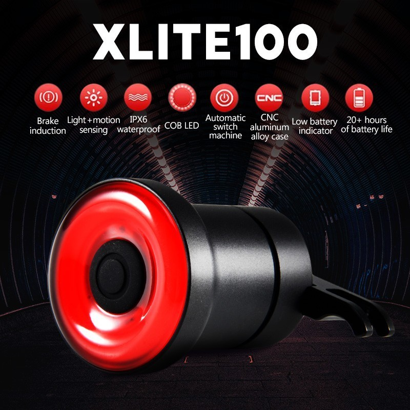 XLITE100 Bicycle Flashlight For Bike Auto Start/Stop Brake Sensing IPx6 Waterproof LED Charging Light Flashlight Taillight