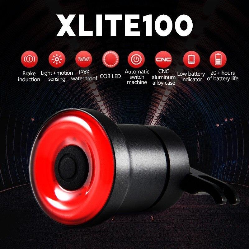 XLITE100 Fahrrad Taschenlampe Für Fahrrad Auto Start/Stop Brems Sensing IPx6 Wasserdichte LED Lade Licht Taschenlampe Rücklicht