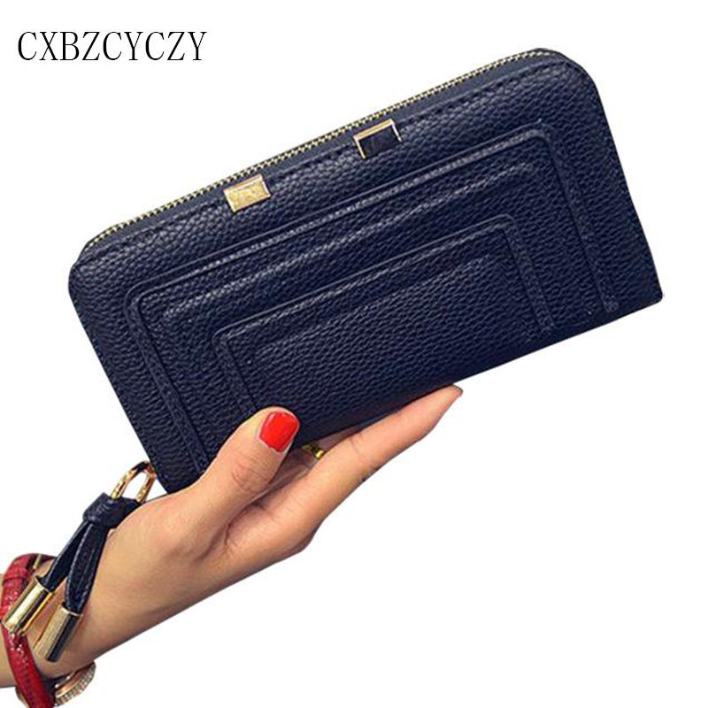 2017 New Womens Wallets and Purses Leather Wallet Women Luxury Brand Zipper Hand bag Dollar Price