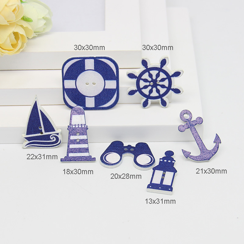 Scrapbooking ButtonsWooden Button Sea steering wheels anchors patternScrapbook 50Pcs 2 Holes Mixed Wood Decorative SewingButtons