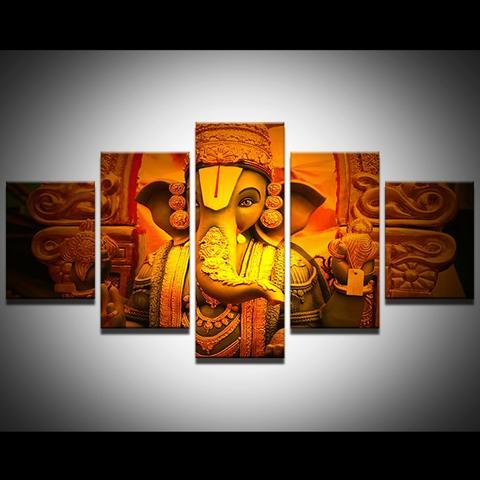 hd print 5pcs canvas wall hindu god ganesha painting canvas