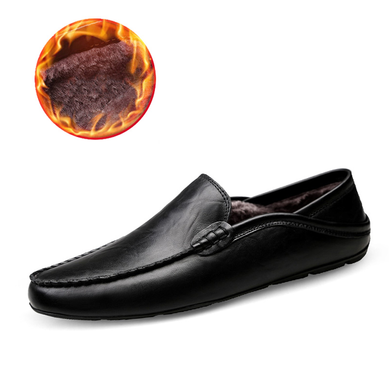 QASDUO Men Warm Winter Moccasins Slip-on Light Loafers Leather Soft Moccasins Comfortable Drive Flats Plus Size 48 Work Shoes