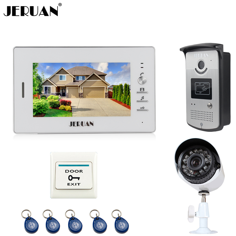 JERUAN NEW 7 inch LCD Video Intercom Door Phone System 1 White Monitor 1 RFID Access Camera + 700TVL Analog Camera In Stock jeruan home 7 video door phone intercom system kit 1 white monitor metal 700tvl ir pinhole camera rfid access control in stock