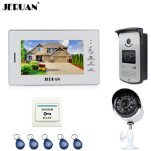 JERUAN NEW 7 inch LCD Video Intercom Door Phone System 1 White Monitor 1 RFID Access Camera + 700TVL Analog Camera In Stock