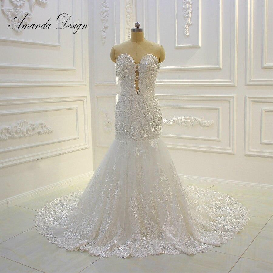 Amanda Design Strapless Lace Applique Crystal Stone Low Cut Wedding Dress