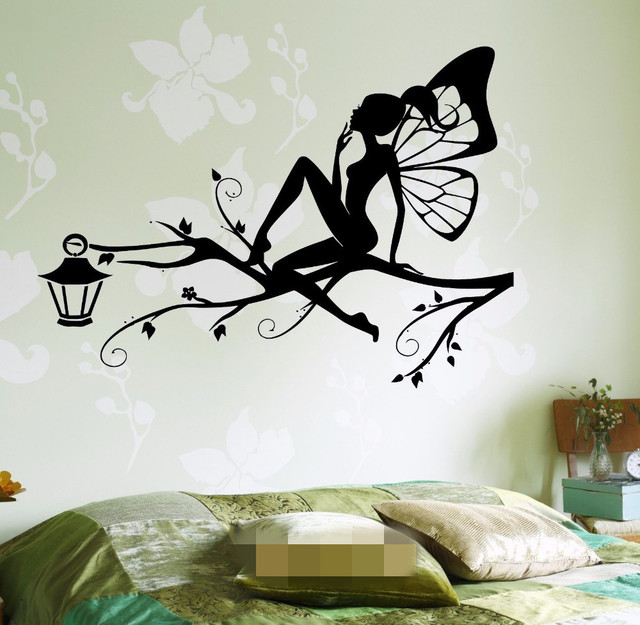 free shipping fairy on the tree branch for kids bedroom wall art