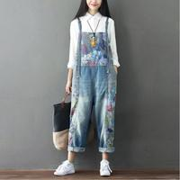 #0317 Flor Impresso Denim jumpsuit mulheres Elegante Do Vintage Solto Big size top curto Denim Macacões Rompers Primavera Retro 2018