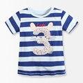 Número de Serie N° 3 de Rayas de los Bebés Camiseta 2016 de la Marca Bebé Ropa de Boutique de Moda de verano Los Niños camisetas kids wear