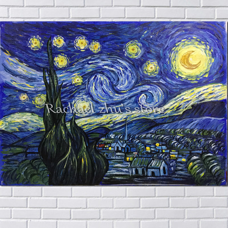 Hand Painted Famous Oil painting on Canvas reproduction Starry Night Van Gogh Wall Art Pictures Living Room Home Decor Art