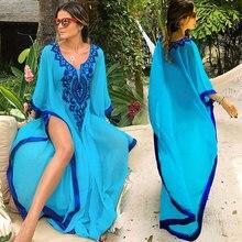 Plus Size Blue Embroidered 2019 Summer Beachwear Chiffon Kaftan Beach Woman Tunic Bath Dress Robe Plage Swim Wear Cover Up