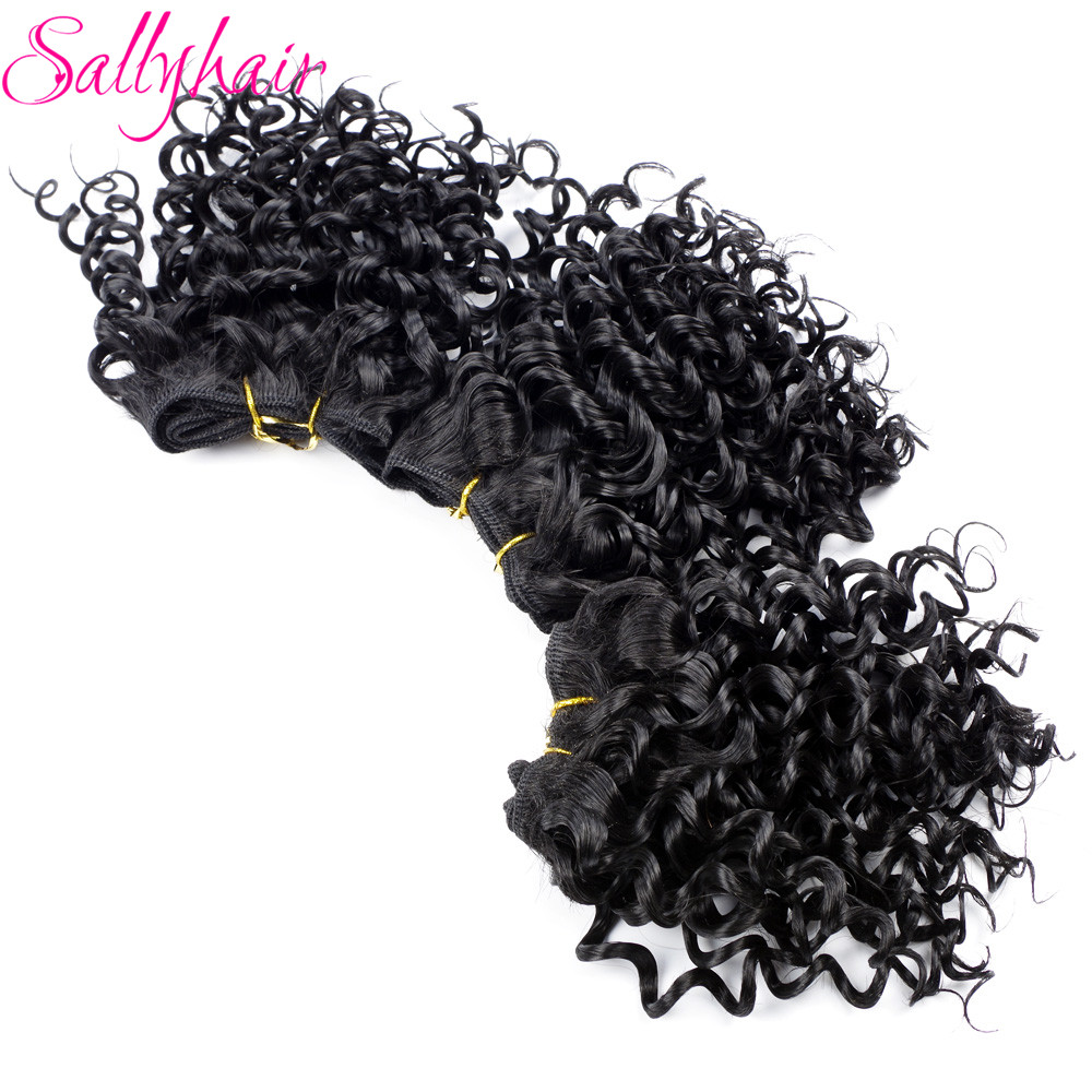 Sallyhair Afro Kinky Curly Crochet Hair Weave Svart Färg Hög Temperatur Syntetisk Weft Hair Extensions 3pc / lot Hair Weavings