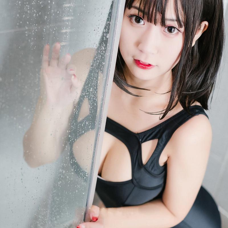 Японский сплошной Sukumizu школьный купальник, сдельный, черный, синий, для похудения, Открытая грудь, купальник, женский, на плечах, купальный костюм
