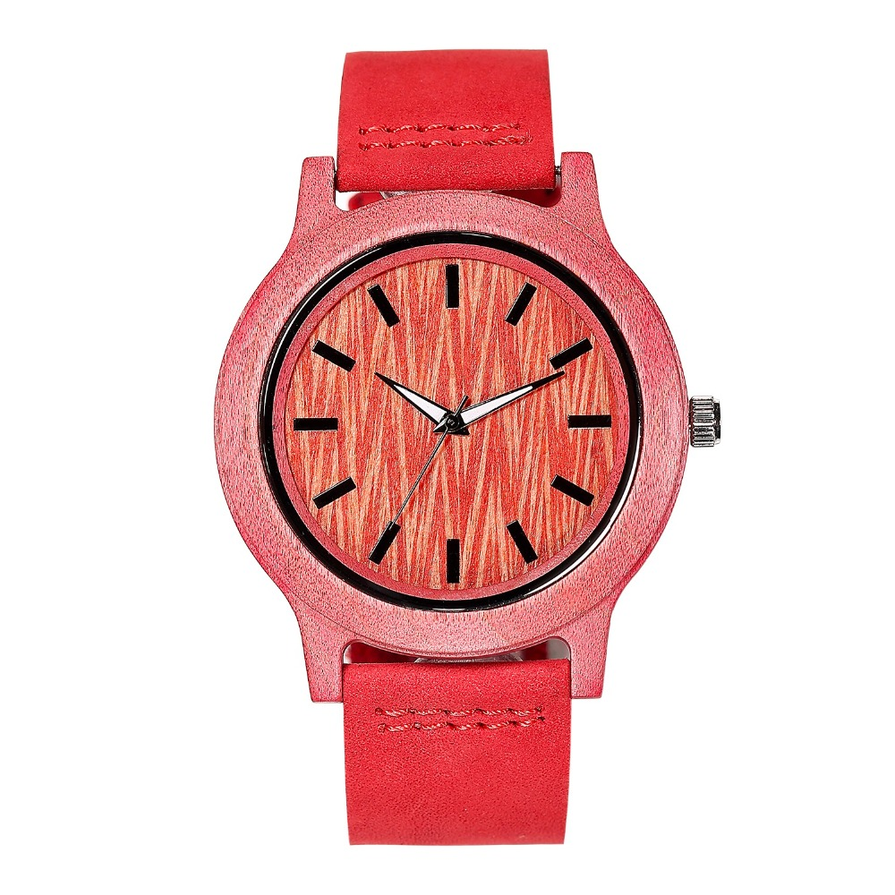 Hot Sale Men's Red Natural Wooden Watch Genuine Leather Wristwatch Good Quality Quartz Wristwatches Wood Watch Top Gift Item hot sale good quality wood laser cutter