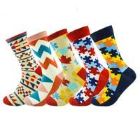 Hot 5pairs Lot Fashion Mens Combed Cotton Long Socks Men Socks Set Colorful Funny Happy Socks