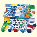 Frete grátis (10 pares/lote) 100% Do Bebê Do algodão meninos meias de borracha antiderrapante-meias chão desenhos animados meias crianças pequenas meias 1-3 anos
