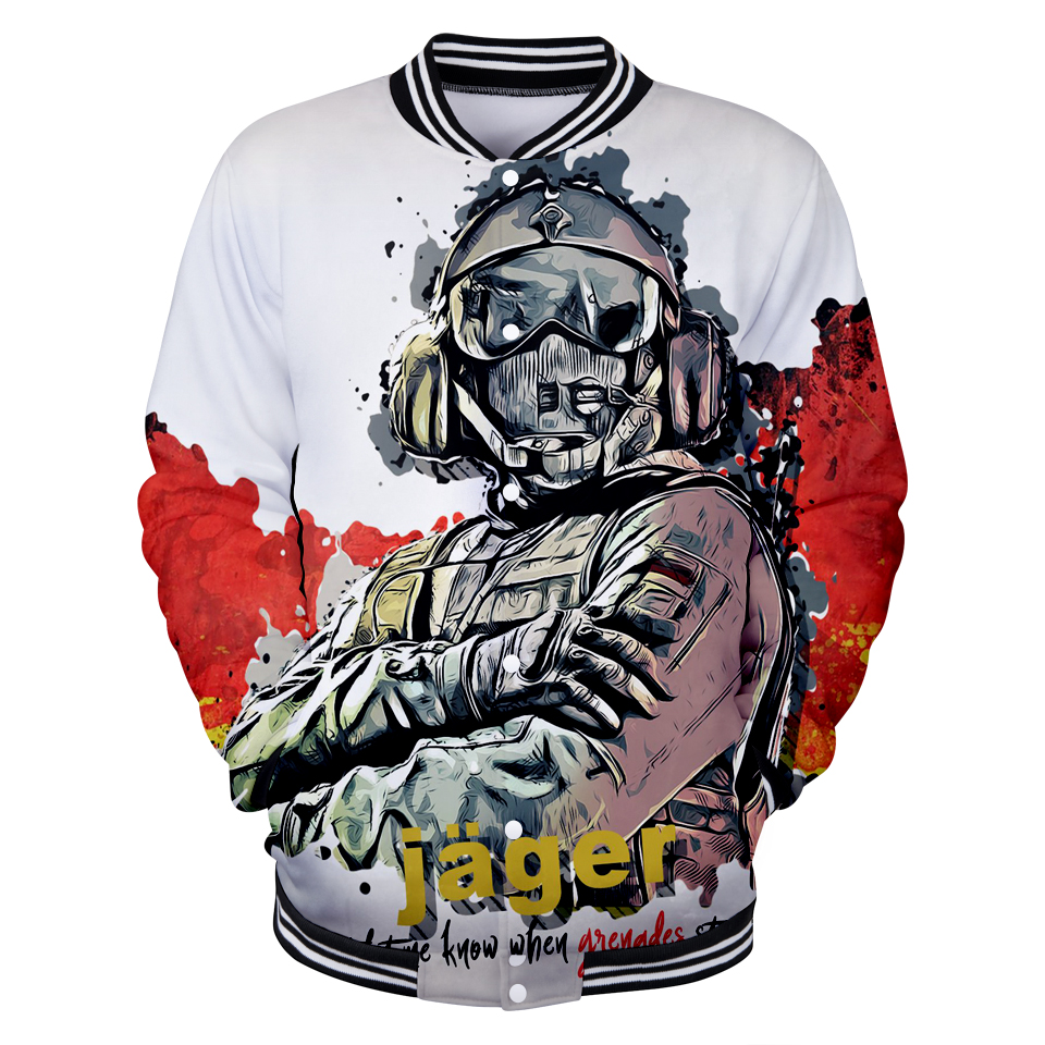 2018 Rainbow Six Siege Baseball Jackets Mens Hot Sale Game Print Jacket Unisex New Brand Rainbow Six Siege V-Neck Unisex Coats