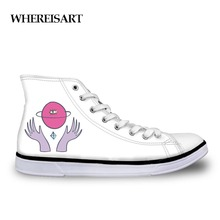 WHEREISART Hand Painted Women High Top Sneakers Hands Printing Canvas Shoes Classic Flats White Vulcanize Shoes Teen Girls Cute