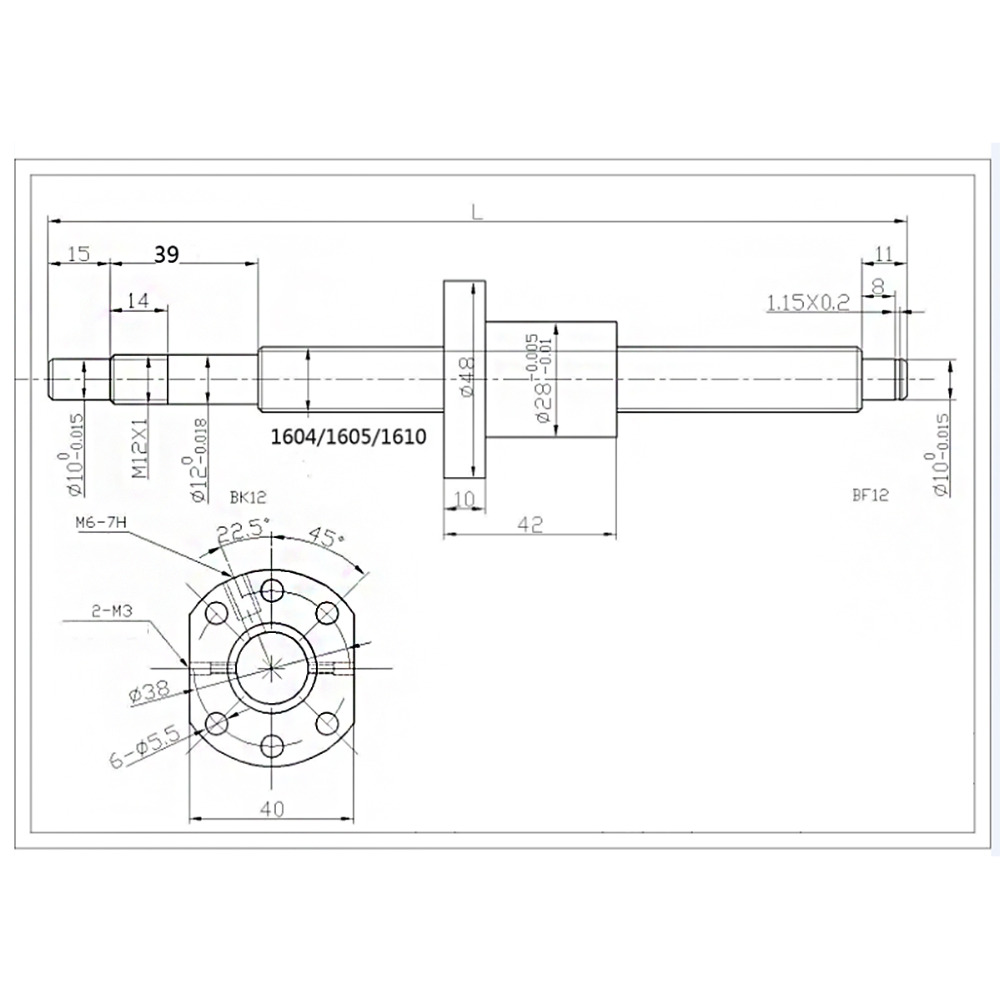SFU1605 Ensemble SFU1605 laminé à vis à billes C7 avec fin usiné + 1605 écrou à billes et écrou logement BK/BF12 support d'extrémité + coupleur RM1605 - 6