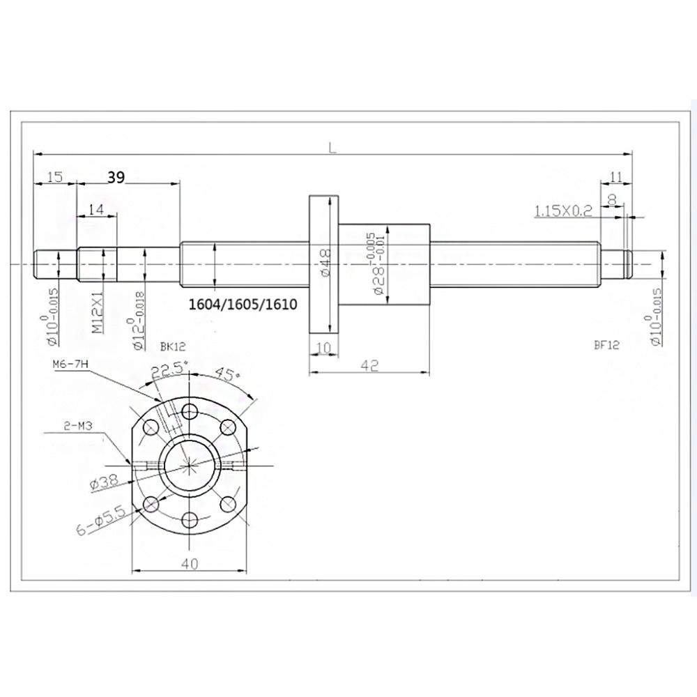 SFU1605 conjunto SFU1605 laminados tornillo C7 con mecanizado + 1605 Bola de tuerca y tuerca de vivienda BK/BF12 final soporte + acoplador RM1605 - 6