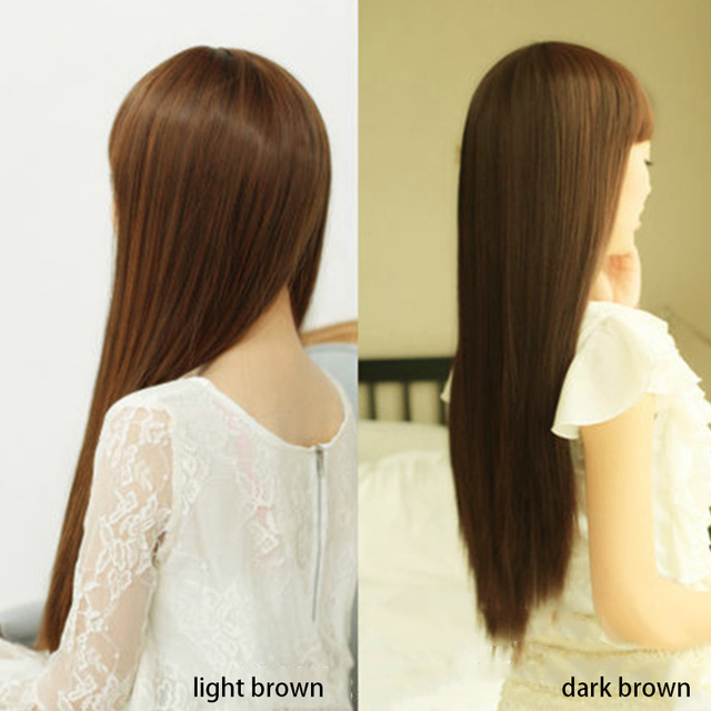 Hot Sale Black/Dark Brown/Light Brown Long Straight Women Hair Wig Synthetic Full Hair Wigs Cosplay Party Female Soft