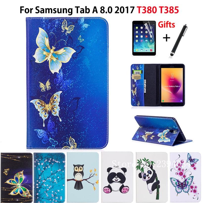 Fashion Panda Owl Pattern Case For Samsung Galaxy Tab A 8.0 SM-T380 T385 2017 8.0 Smart Cover Funda Tablet Shell+Film+PenFashion Panda Owl Pattern Case For Samsung Galaxy Tab A 8.0 SM-T380 T385 2017 8.0 Smart Cover Funda Tablet Shell+Film+Pen