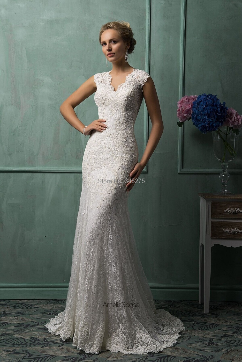 Vintage Designer Italy Cap Sleeves V Neck Court Train Buttons Open Back Lace Wedding Dresses Mermaid Style 2014 Vestido De Noiva In From