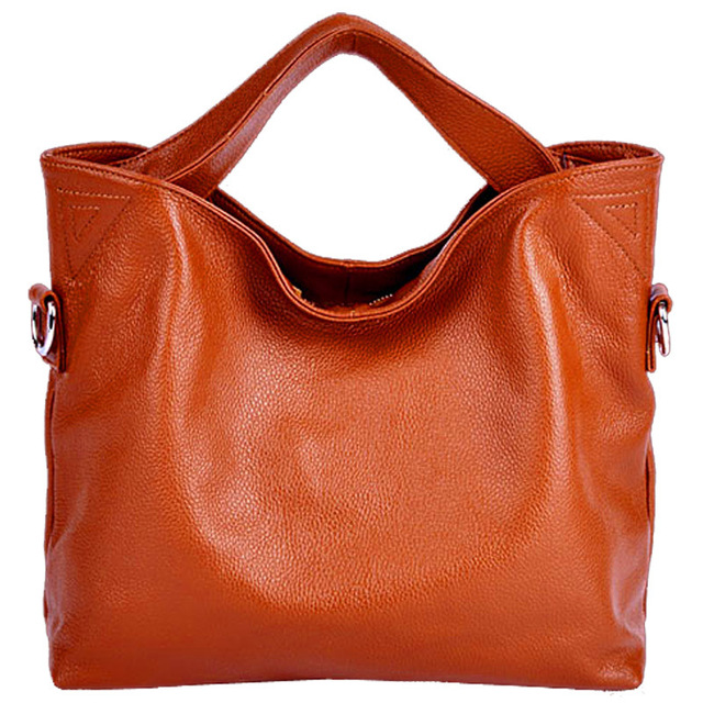 High quality genuine leather bags ladies cowhide totes female designer fashion big women brown bags crossbody 7color sac a main