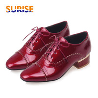 Spring Autumn Women Flats Oxford Derby Brogue PU Patent Leather Square Toe Lace Up Vintage Sexy Casual Dress Office Ladies Shoes