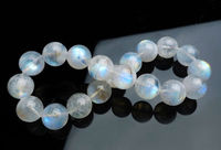 Free shipping 435 Natural Rainbow Blue Light Moonstone Round Bracelet AAAA