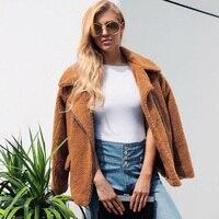 2019 New Fashion Women Faux Lamb Wool Jacket Coat Long Sleeve Zipper Pocket Warm Autumn Winter Streetwear Outercoat Plus Size