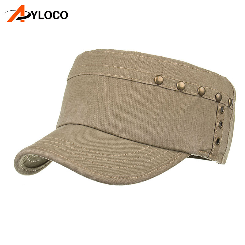 Купить с кэшбэком Brand Summer Autumn Military Cap Men Cotton Flat Top Army Hat for Men Adjustable Tactical cap Military Hats Classic Solid Color