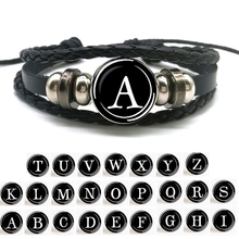 26 Letters Alphabet Snap Button Bracelet Men Women Punk Ppersonalized Name Letter Braided Leather Dropshipping