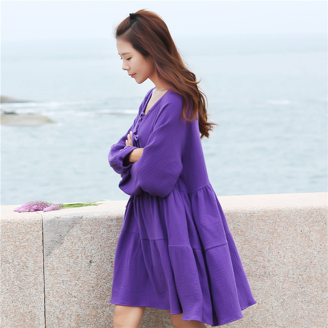 US $19.5 |Whole sale women long sleeve cotton linen dress,plus size girl  Vintage Dress,purple pink white dress XS 4XL 5XL 6XL-in Dresses from  Women\'s ...