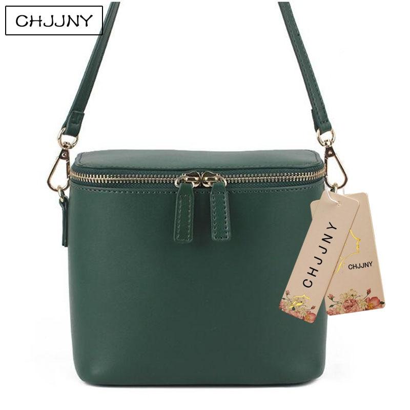 ФОТО CHJJNY  korean simple style genuine leather bucket bag customized vintage women messenger bags