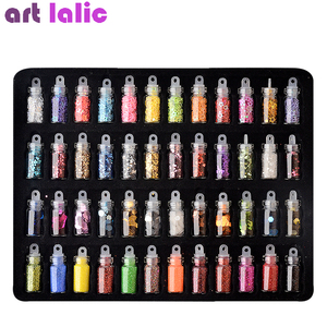 Image 2 - Artlalic 48 Bottles Nail Art Rhinestones Beads Sequins Glitter Tips Decoration Tool Gel Nail Stickers Mixed Design Case Set